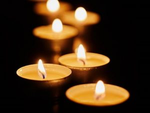 Gentle glow of meditative candles