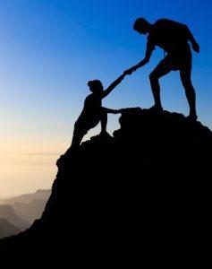 Teamwork couple hiking
